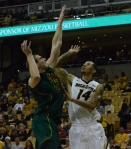 Negus Webster-Chan (14) battles for a rebound against Missouri Southern center Greg Renfroe (12) during a game on Nov. 4.