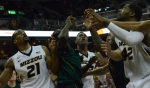 Players for Missouri, including Laurence Bowers (21), Earnest Ross (center) and Alex Oriakhi (42) tangle with Missouri Southern defenders during a game on Nov. 4. Missouri outrebounded Missouri Southern 24-17 on the afternoon, leading to a 86-60 Missouri win.