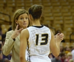 Missouri Coach Robin Pingeton directs Junior Bri Kulas (13) in a game on Thursday night at Mizzou Arena. The Tigers beat the Leathernecks 70-61.