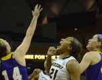 Senior guard Sydney Crafton (21) yells after earning two hard-fought points for Mizzou. She led the Tigers with 19 points.