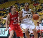 Senior guard Sydney Crafton (21) maneuvers past Southeast Missouri guard Olivia Hackmann (24). Crafton led Missouri with 26 points and contributed six rebounds and two assists.
