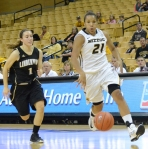 Missouri guard Sydney Crafton (21) drives to the basket past Lindenwood's Jenny Rocha (1) in a game on Tuesday, Nov. 6 at Mizzou Arena. Crafton had six points in the Tigers' 88-46 victory.