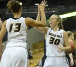 Missouri guard Morgan Eye (30) celebrates with forward Bri Kulas (13) during the Tigers' 88-46 win over Lindenwood on Tuesday, Nov. 6.