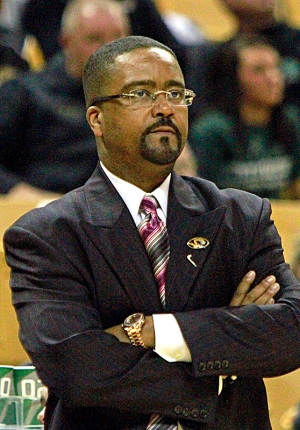 Missouri basketball coach Frank Haith during an exhibition game on Oct. 29, 2012, at Mizzou Arena. Haith is in his second year at Missouri. Photo by Karen Mitchell