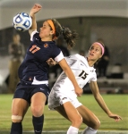 Allison Hu (15) watches as Allie Osoba misses the header.