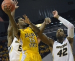 Missouri forward Alex Oriakhi (42) goes up for a block on Alcorn State's LeAntwan Luckett (15). Oriakhi had 12 points and 10 rebounds in Missouri's 91-54 win over Alcorn State on Tuesday, Nov. 13.