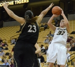 Missouri guard Liene Priede (32) shoots over Sonya Milford (23) of Lindenwood during a game on Nov. 6 at Mizzou Arena. Priede scored five points in Missouri's 88-46 win.