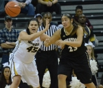 Missouri center Liz Smith (45) defends Lindenwood center Sonya Milford (23). The Tigers won their second exhibition game at Mizzou Arena, 88-46.