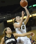 Missouri guard Maddie Stock shoots over a Lindenwood defender during the Tiger's 88-46 win on Tuesday, Nov. 6. Stock was the game's leading scorer with 19 points off the bench.