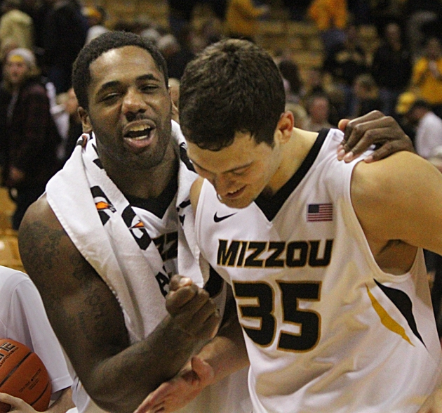 Alex Oriakhi (42) congratulates Stefan Jankovic after Missouri's 68-38 win over Tennessee State. Jankovic came of the bench to ignite the Tigers in the second half, scoring 16 points.