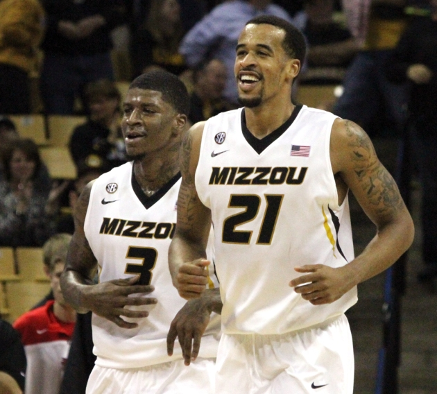 Tony Criswell (3) and Laurence Bowers (21) smile after a scoring play in the second half Tuesday against SEMO. Bowers led all scorers with 26 points, Criswell finished with 13.