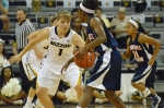 Freshman guard Lianna Doty (1) defends against a Tennessee-Martin player at Mizzou Arena on Monday, December 3.