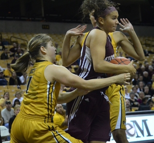 Lianna Doty (1) tries to steal the ball from Missouri State player Mikala McGhee. The Tigers beat the Bears, 91-77, with Doty contributing 14 points and six assists.