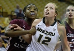 Missouri's Michelle Hudyn (12) is pushed by SIU's Dyana Pierre (44) as they fight for a rebound.