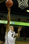 Bri Kulas goes up for two of her 22 points in Sunday's defeat of Southern Illinois.