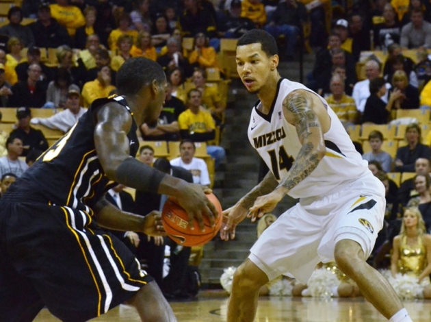 Negus Webster-Chan (14) tries to contain Appalachian State's Jamaal Trice. Webster-Chan had one steal in Missouri's 72-56 win over Appalachian State