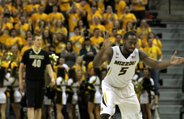 Keion Bell (5) cheers after a Missouri basket that help widen the first half lead over Vanderbilt. Missouri lead 49-20 at the half, going on to beat Vanderbilt 81-59 Saturday, Jan. 26, 2013 at Mizzou Arena in Columbia, Mo.