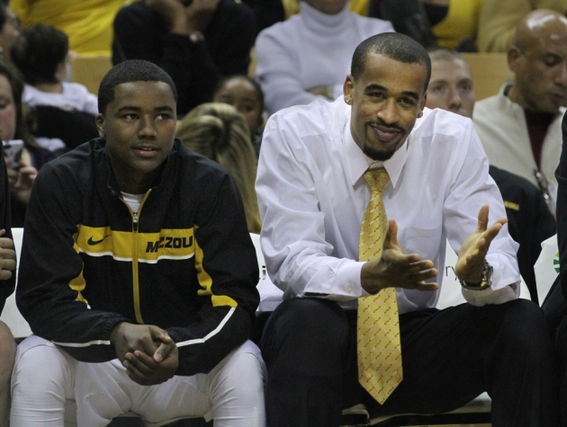 Laurence Bowers, right, reacts to a play on the court. Bowers is again on the bench, having injured his right knee. Sitting with him is Corey Haith at Mizzou Arena January 16, 2013.