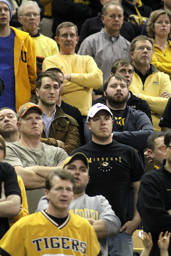 Missouri fans watch as the Tigers try to come back from a 13-point deficit against South Carolina on Jan. 22, 2013.