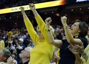 Sen. Claire McCaskill, center, was one of the fans Tuesday night in Missouri's SEC league opener.