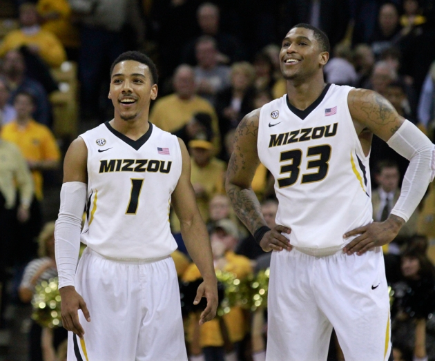 Phil Pressey (1) and Earnest Ross (33) are all smiles late in the game against South Carolina. Both men hit key 3-point shots in the second half to help secure the 71-65 win at Mizzou Arena.
