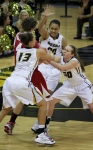 Bri Kulas (13) Darian Saunders (00) and Morgan Eye (30) fight for a rebound with Arkansas' Sarah Watkins. Missouri lost to Arkansas, 58-50  Thursday, Jan. 24, 2013 at Mizzou Arena in Columbia, Mo. Photo by Karen Mitchell