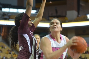 Liz Smith (45) grabs an offensive rebound in Mizzou's 61-56 loss to Mississippi State on Sunday, Feb. 10, 2013.