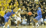 Missouri's Keion Bell (5) makes a steal against Florida's Mike Rosario (3) and Micahel Frazier (20). Bell finished the play with a lay up, managing nine points and four rebounds for the night.