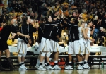 The Missouri Tigers bench celebrates in the second half as Missouri was on the verge of upsetting SEC top-placed Tenneesse.