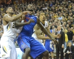 Missouri's Jabari Brown (32) and Laurence Bowers (21) look for the rebound against Florida's Patric Young (4). Bowers grabbed the rebound and finished with 10 rebounds for the night. Bowers made a double-double with the rebounds and 17 points.