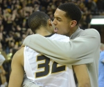 Missour's Jordan Clarkson celebrates the win with Jabari Brown (32). Brown finsihed with 12 points - second highest points for Missouri, he also had two rebounds and hit crucial 3 pointers in the second half to gain on Florida's lead.