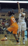 Morgan Eye shooting one of her six 3-pointers. Eye finished as leading scorer with 26 points and five rebounds.