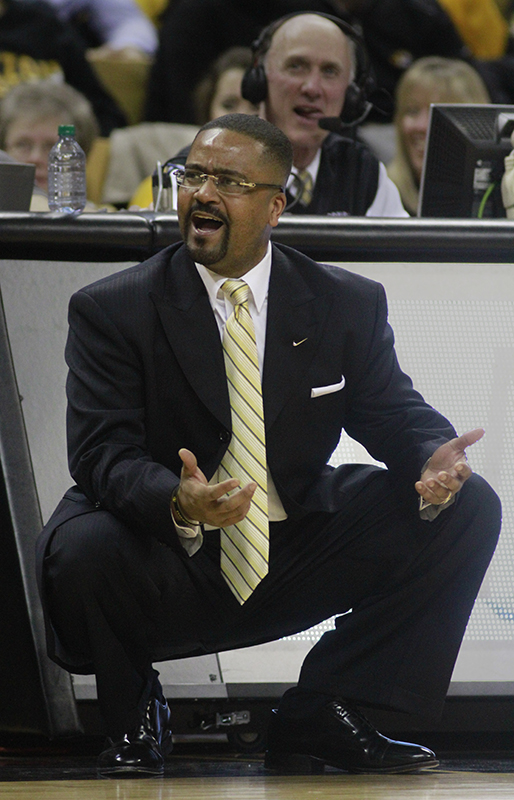 Coach Frank Haith's Missouri squad is undefeated at home but struggling to find the winning formula on the road. Feb. 2, 2013, at Mizzou Arena in Columbia, Mo. Photo by Karen Mitchell.