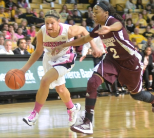 Liene Priede (32) finishes as leading scorer with 14 points in Mizzou's 61-56 loss to Mississippi State on Sunday, Feb. 10, 2013.