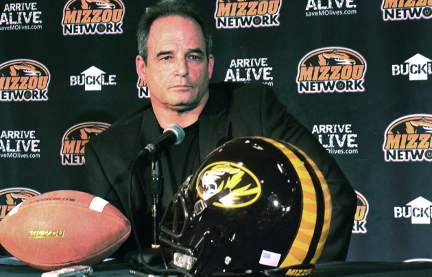 Coach Gary Pinkel speaks to the media after signing 20 football recruits for the 2013 season.