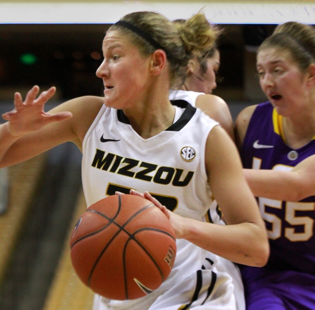 Missouri's Liene Priede (32) charges to the basket in Friday's game. Priede made 18 points in the game.
