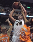 Senior Liz Smith goes for a layup shot in the first half for Missouri. Smith finished with 10 points and two assists.
