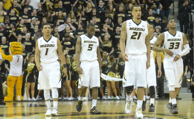 Teammates Phil Pressey (1) Keion Bell (5) Laurence Bowers (21) and  Earnest Ross (33) take the floor against No.5 Florida on Tuesday, Feb. 19, 2013.