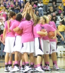 Missouri Tigers huddle for the annual Play 4Kay game. The theme for the game was pink, to raise awareness about breast cancer and the Kay Yow Cancer Fund.