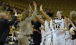 Pingeton (tan suit) celebrates with players as Missouri extended its lead in the second half by eight points with 11 minutes left in Wednesday's game.