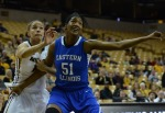 Bri Kulas (13) gets boxed out by Eastern Illinois' Mariah King (51) in the second half. Kulas finished with 12 points and seven rebounds for the Tigers on Wednesday's game.