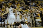 Missouri coach Robin Pingeton (right) yells at officials with under four minutes left in Wednesday's game.