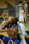 Lianna Doty fights for the ball with Ta'Kenya Nixon (15) of Eastern Illinois during Wednesday's game.
