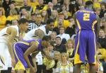 Jabari Brown (left) and Alex Oriakhi (middle) battle for position against Malik Morgan (bottom left) as LSU's Johnny O'Bryant III (2) gets ready to shoot a free throw. O'Bryant III finished the game with 18 points and eight rebounds despite Missouri's 52-24 advantage in points in the paint.