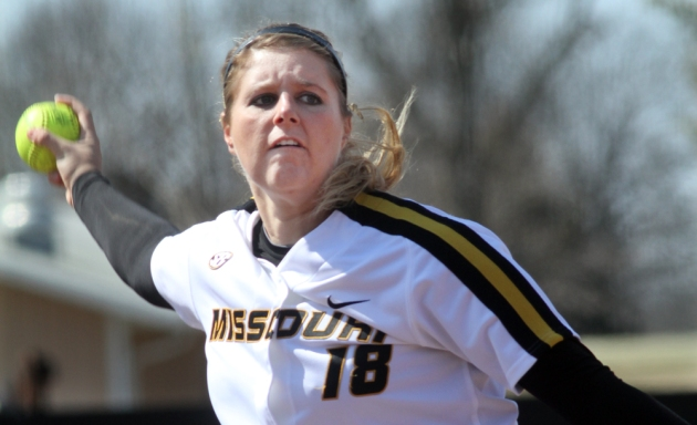 Missouri's starting pitcher, Chelsea Thomas, during the first inning against Evansville on Wednesday, March 13, 2013. Thomas earned her 1,000th strike out in the game and earned the win. Photo by Karen Mitchell