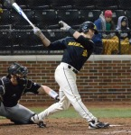Missouri center fielder Logan Pearson strikes out swinging to end the fifth inning in Game 2 on Tuesday.