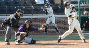 Missouri third baseman Shane Segovia connects on a single in the second inning of the Tigers' game against Truman State Wednesday at Taylor Stadium.