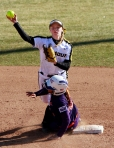 Shortstop Corrin Genovese puts out Alicia Betancur as she slides into second base.