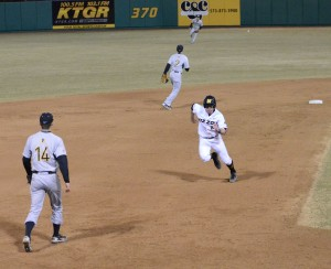 Missouri second baseman Kendall Keeton advances from second base to score on Dylan Kelly's single in the bottom of the fifth inning on Friday. The hit broke a 2-2 tie, giving Missouri its first lead of the game.