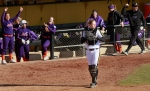 Missouri catcher Jenn Marston shows her frustration after Evansville scored the go-ahead run in the second game.